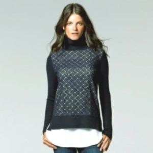 Simply Vera by Vera Wang Lace Overlay Turtleneck
